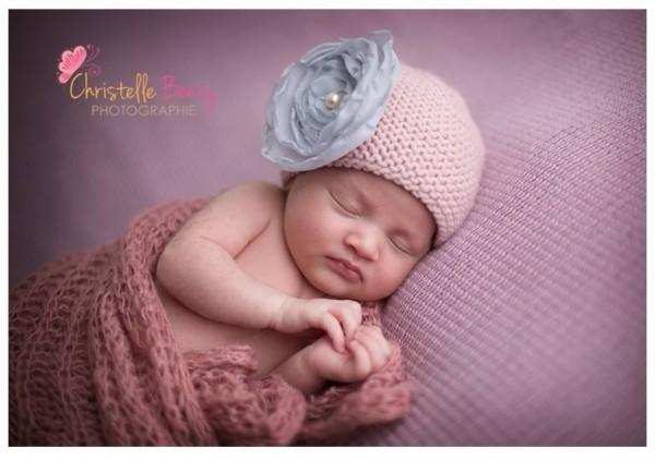 fleur faite main bonnet naissance rose poudre gris gazouillis & cie création française