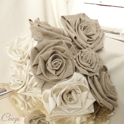 bouquet mariée original beige ivoire lin satin personnalisable