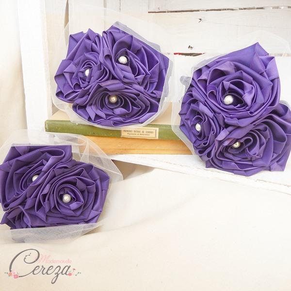accessoire cortège mariage violet bouquet demoiselle honneur