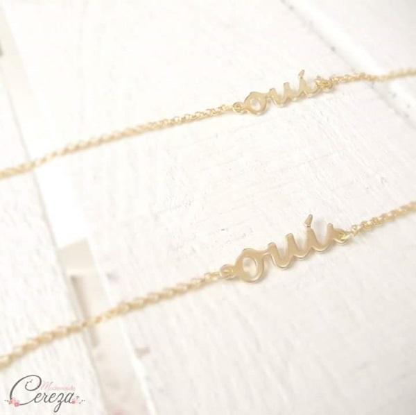 bijou mariage oui collier bracelet mademoiselle cereza