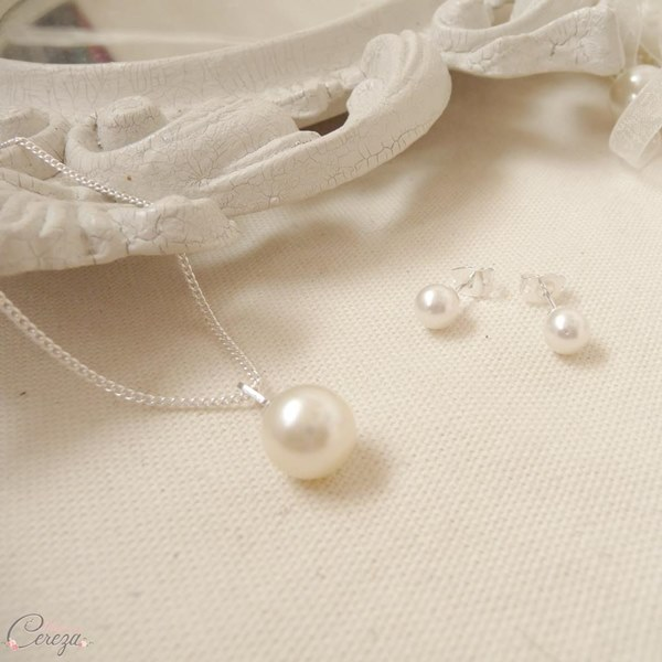 bijou mariage collier chic perle boucles oreilles cereza mademoiselle