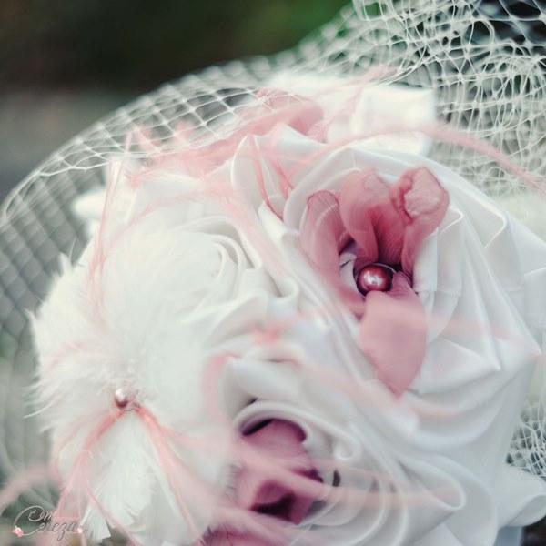 bouquet de mariage original retro romantique tissu vieux rose ivoire cereza mademoiselle