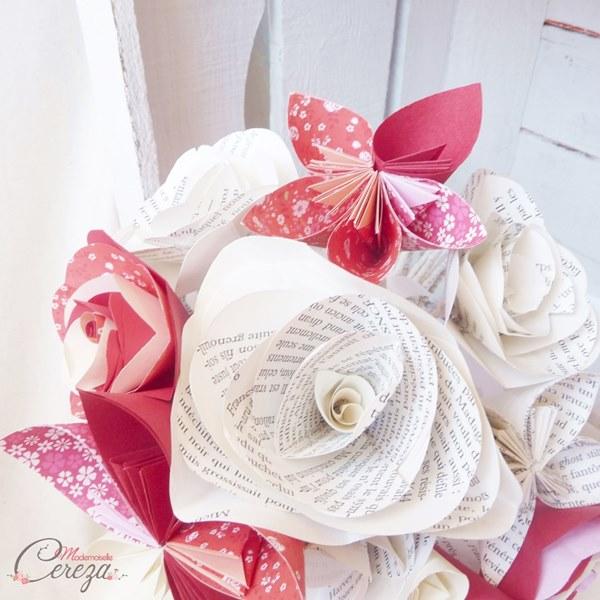 bouquet de mariee original atypique decale papier bordeaux rouge ivoire cereza mademoiselle