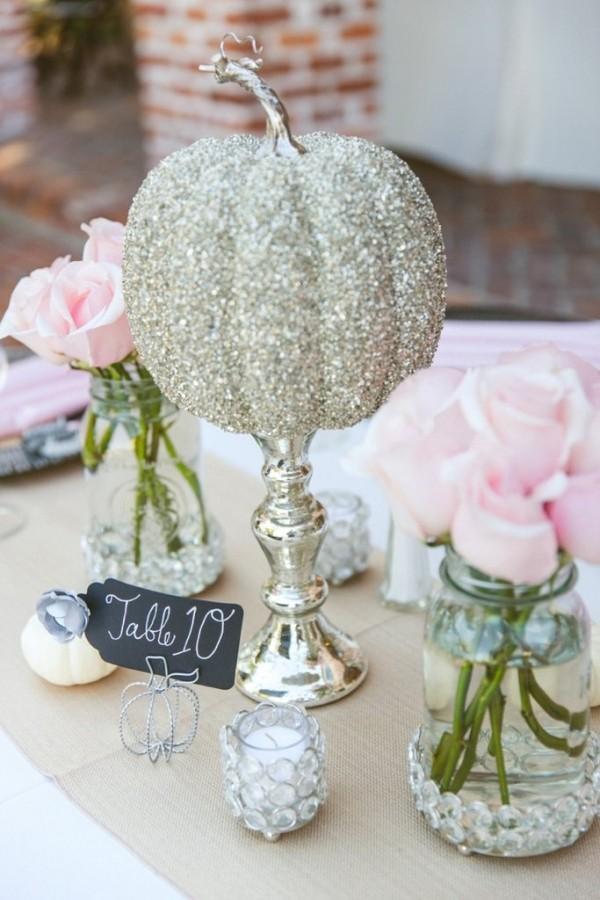 choisir son centre de table mariage theme conte de fées argent paillettes