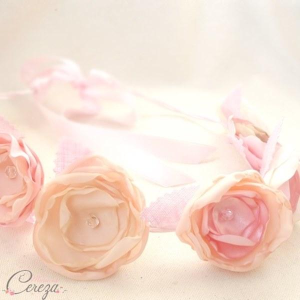 bijou de coiffure romantique headband mariee fleurs poudre rose cereza mademoiselle