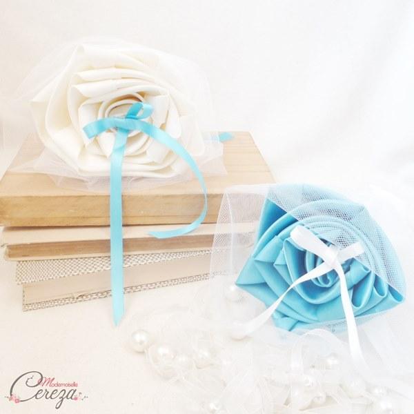 mariage turquoise ivoire porte-alliances coussin original duo cereza mademoiselle