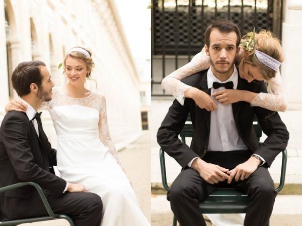 mariage bohème chic à Paris idée inspiration robe dos nu bijoux accessoires