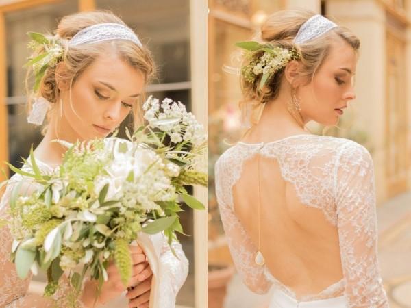 mariage bohème chic à Paris bijou dos Mademoiselle Cereza robe dos nu dentelle Laure B Gady photo Anaïs Roguiez