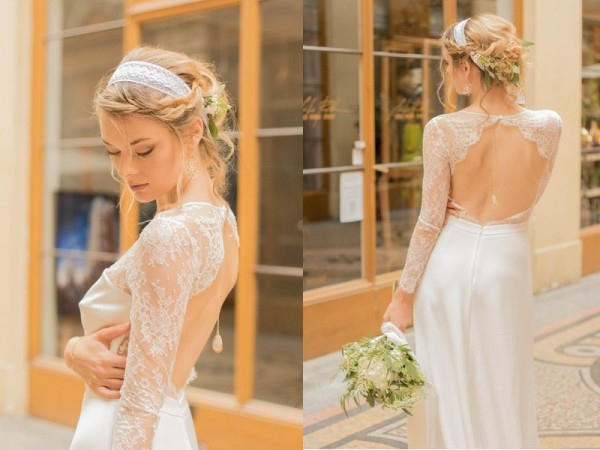 mariage bohème chic à Paris robe dos nu dentelle Laure B Gady bijou dos Mademoiselle Cereza Photo Anaïs Roguiez