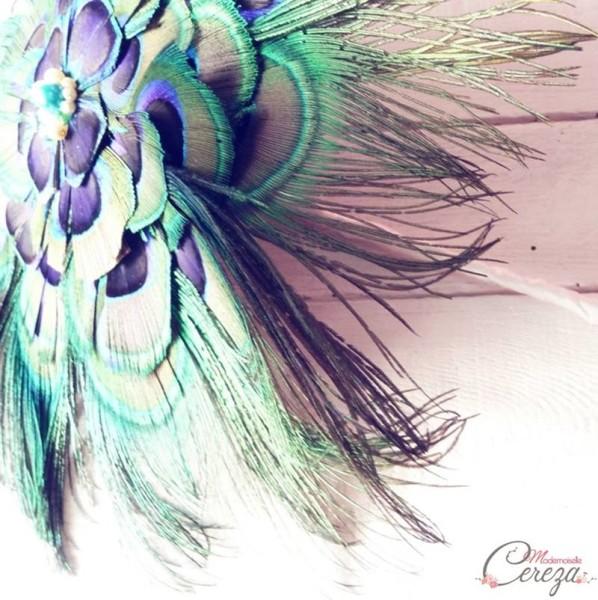 bouquet de mariage alternatif original plumes paon melle cereza deco
