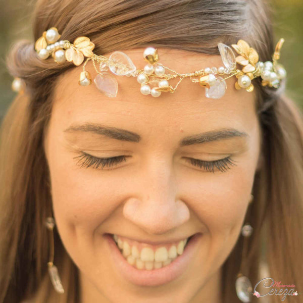 headband mariage chic perles cristal feuilles nature