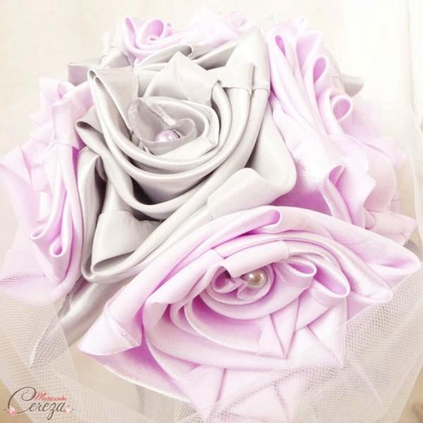 décoration de mariage mauve gris blanc bouquet de mariée original