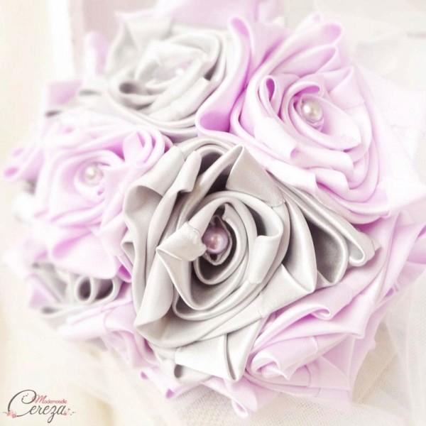 déocration de mariage mauve gris blanc bouquet mariée en tissu