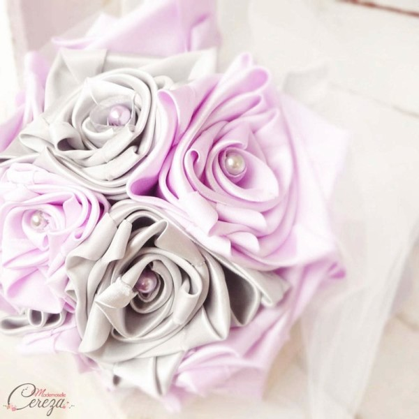 décoration fleurs mariage mauve gris blanc