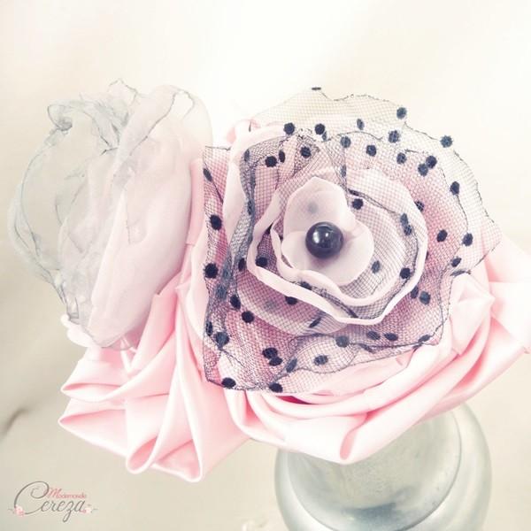 mariage rose gris noir fleur accessoire sur-mesure bouquet original
