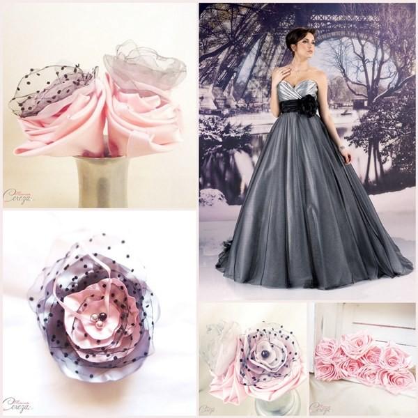 mariage rose gris noir romantique baroque