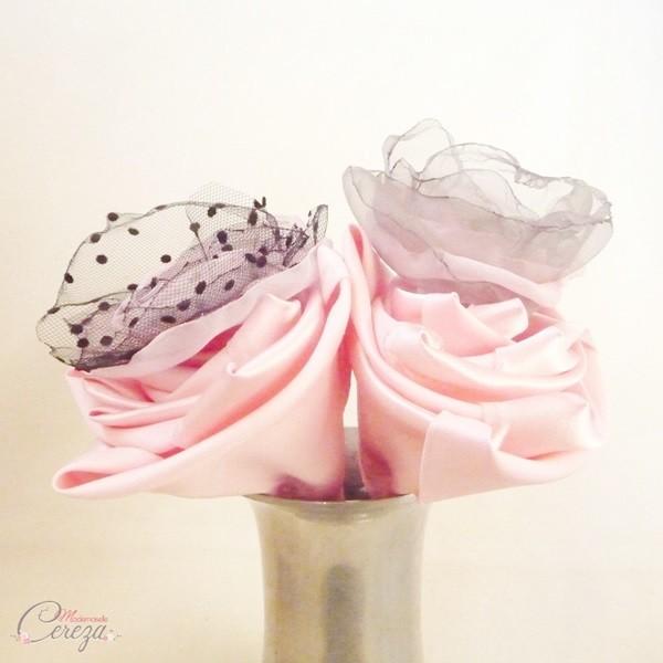 mariage rose gris noir baroque romantique fleurs bouquet original