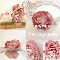 mariage vieux rose ivoire accessoire coiffure déco
