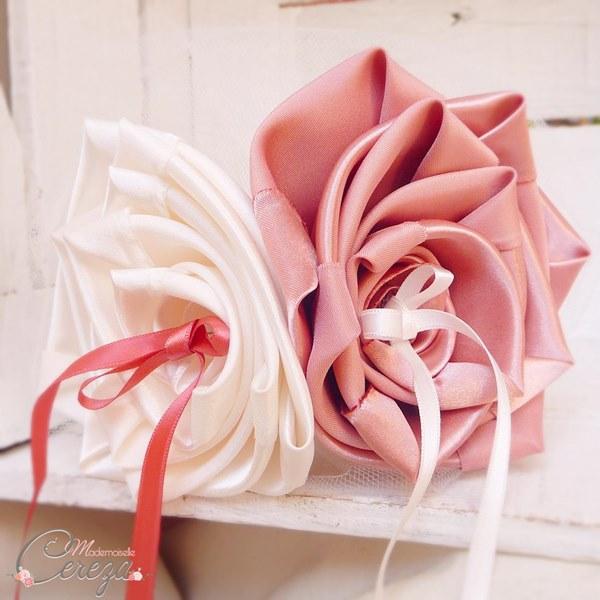 mariage vieux rose ivoire coussin alliances original