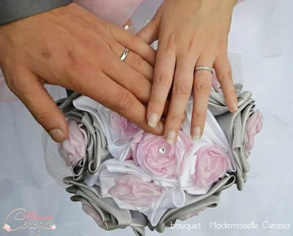 bouquet de mariée original feerique rose gris blanc cristal Swarovski sur-mesure Mademoiselle Cereza