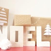 Noël beige et blanc paquets cadeaux en kraft