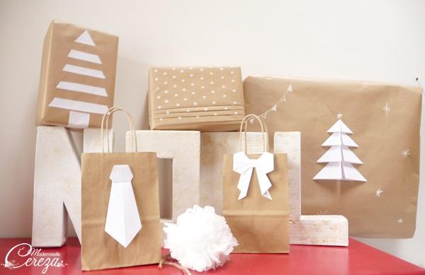 idées originales paquets cadeaux noel beige blanc minimaliste