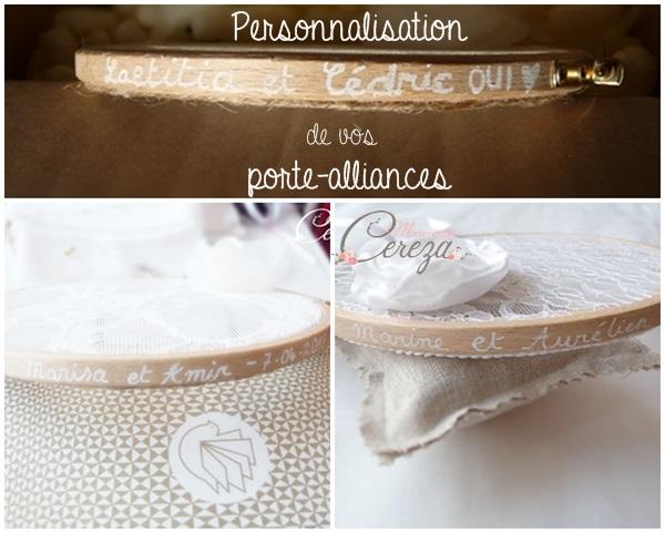porte-alliances dentelle personnalise prenoms date mariage Mademoiselle Cereza