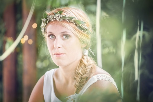 mariage champêtre bohème pastel idée coiffure tresse
