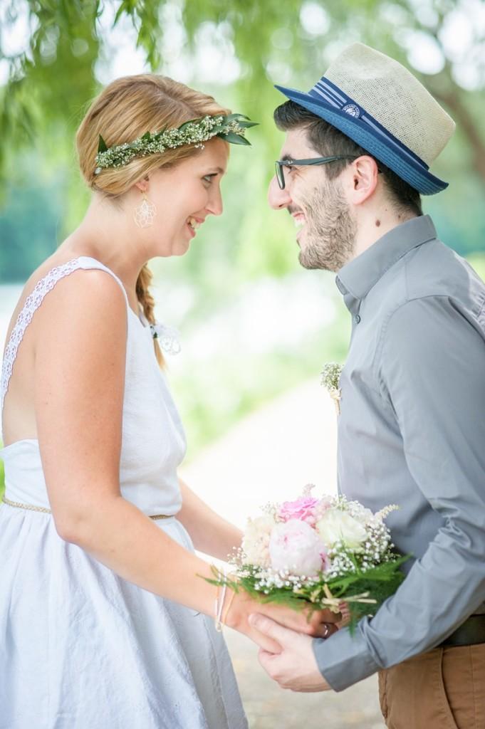idee robe de mariée lin blanc dentelle mariage simple shooting inspiration Melle Cereza blog