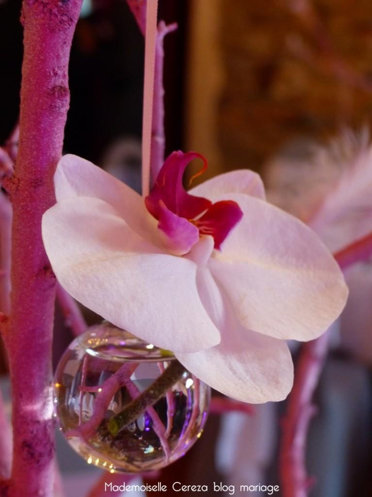 idee mariage centre table soliflore orchidée suspendue Melle Cereza blog mariage