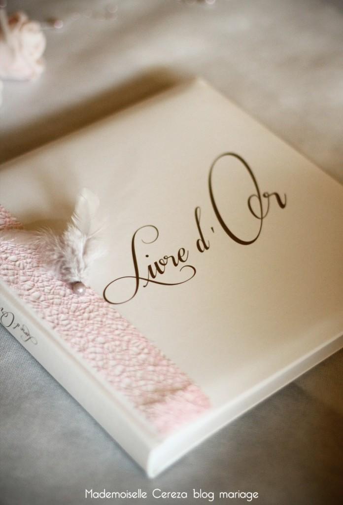 idee personnalisation livre or mariage retro chic rose gris blanc Melle Cereza blog mariage