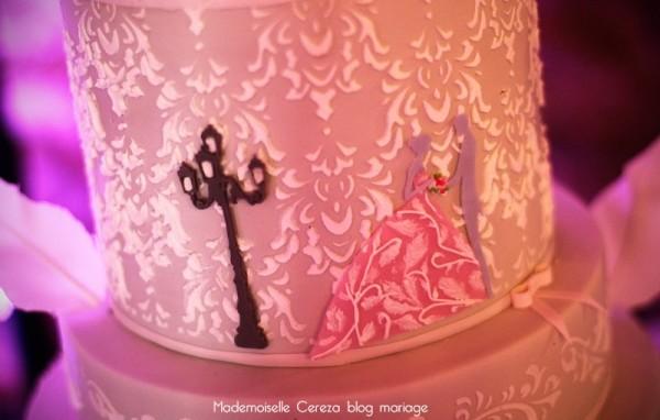 wedding cake feerique mariage retro rose gris blanc Melle Cereza blog mariage
