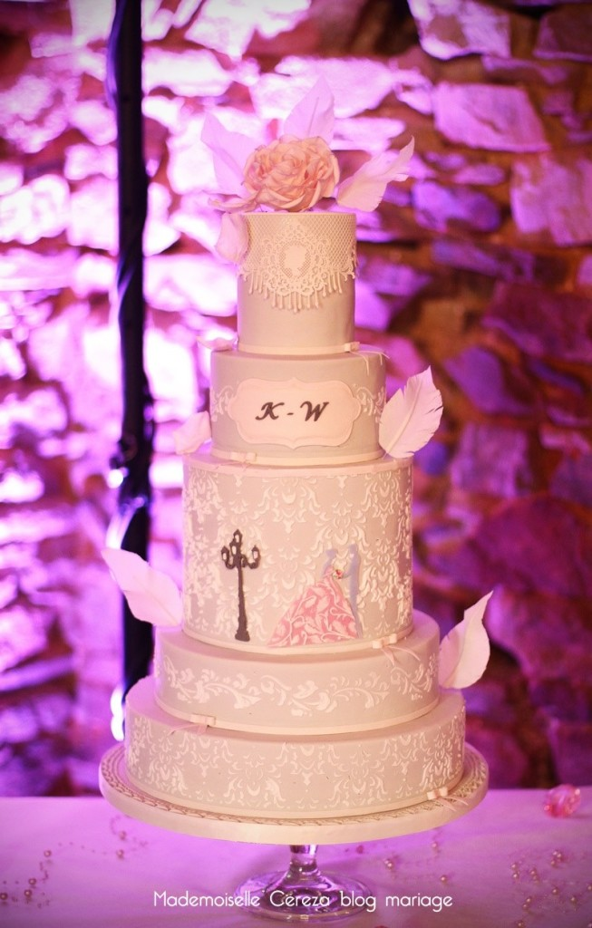 idee wedding cake mariage vintage retro chic rose gris blanc Melle Cereza blog mariage