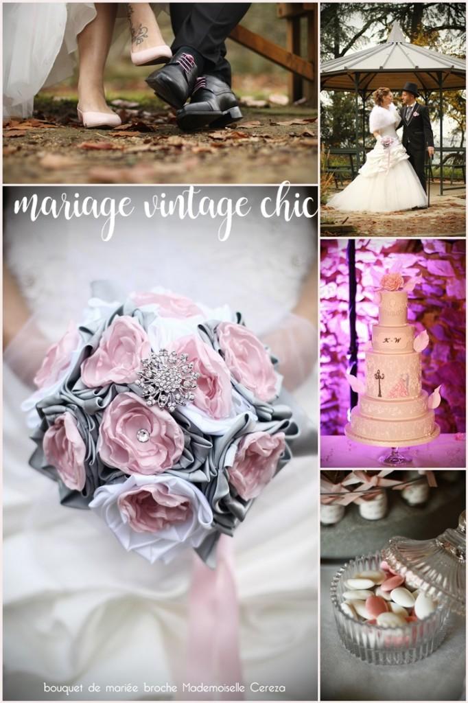 idées pour un mariage vintage chic romantique rose poudré gris clair blanc Mademoiselle Cereza blog mariage
