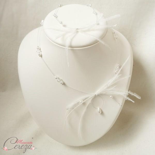 collier bracelet mariée plumes retro Melle Cereza modèle Maxine