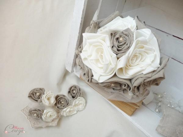 mariage champetre campagne chic beige ivoire lin bouquet original Manon Melle Cereza