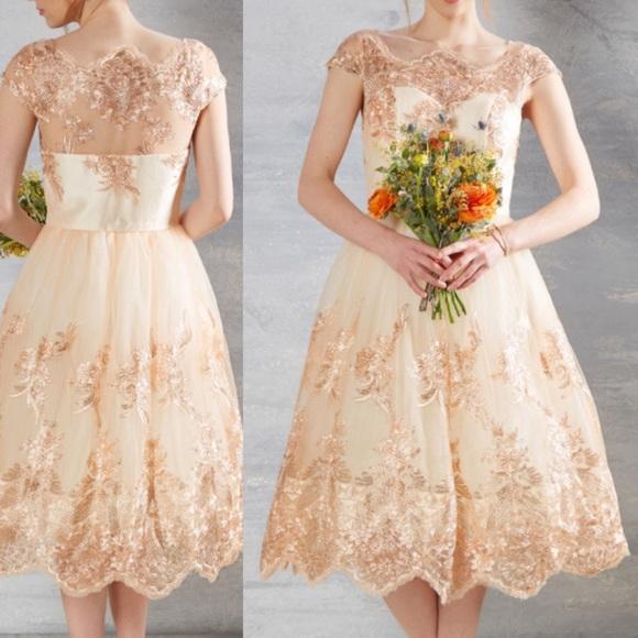 robe de mariée courte rose peche dentelle