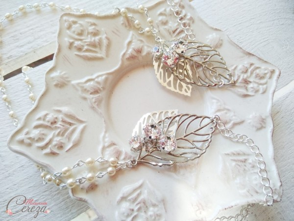 accessoire mariage chic headband boheme chic cristal swarovski feuille Melle Cereza