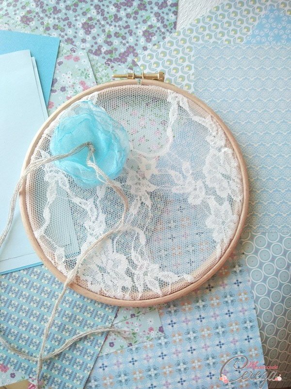 porte-alliances champêtre chic bleu turquoise lin jute dentelle Mademoiselle Cereza