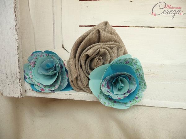 fleurs bouquet mariage origami et lin beige bleu turquoise Melle Cereza