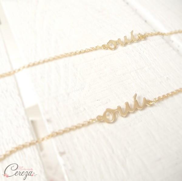 bijoux mariage oui bracelet or doré