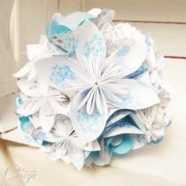 bouquet de mariee origami personnalisable bleu turquoise blanc Mademoiselle Cereza