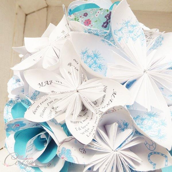 bouquet de mariee origami personnalise motifs floraux chanson Melle Cereza