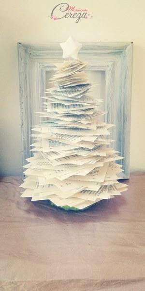 tuto sapin de Noël pour petits espaces ecoresponsable papier livre melle cereza deco