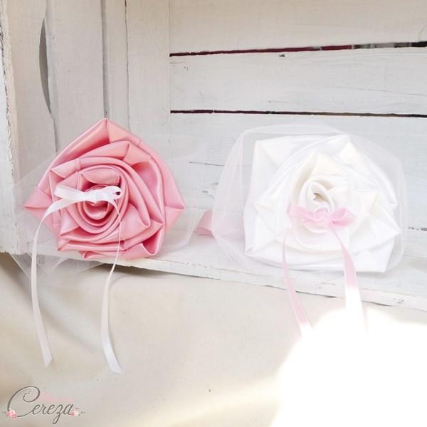 porte alliances Duo mariage rose blanc mademoiselle cereza