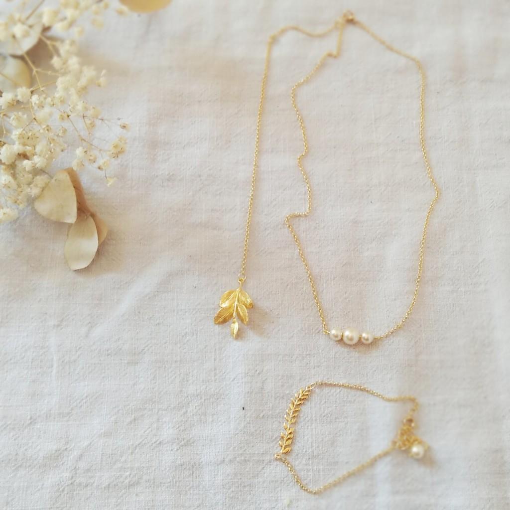 collier de dos mariage champetre bracelet assorti Melle Cereza