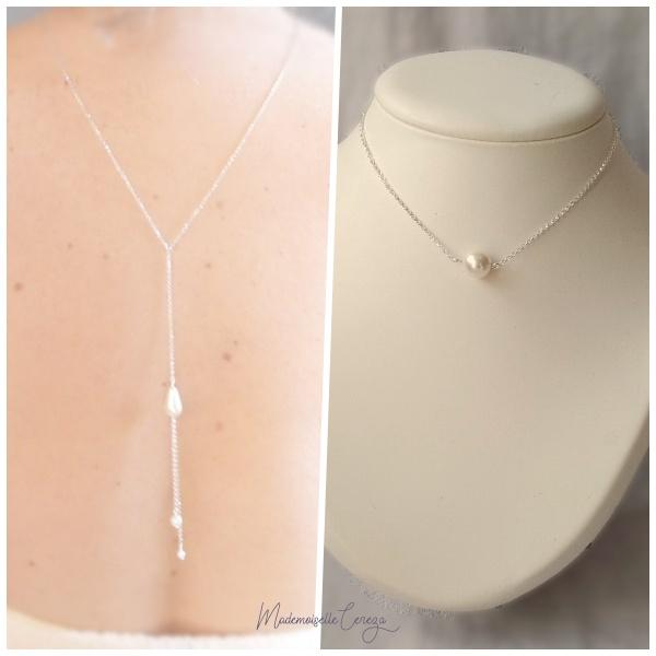 collier bijou de dos mariage perles
