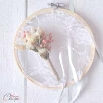 Porte-alliance fleurs sechees Melle Cereza deco mariage champetre chic